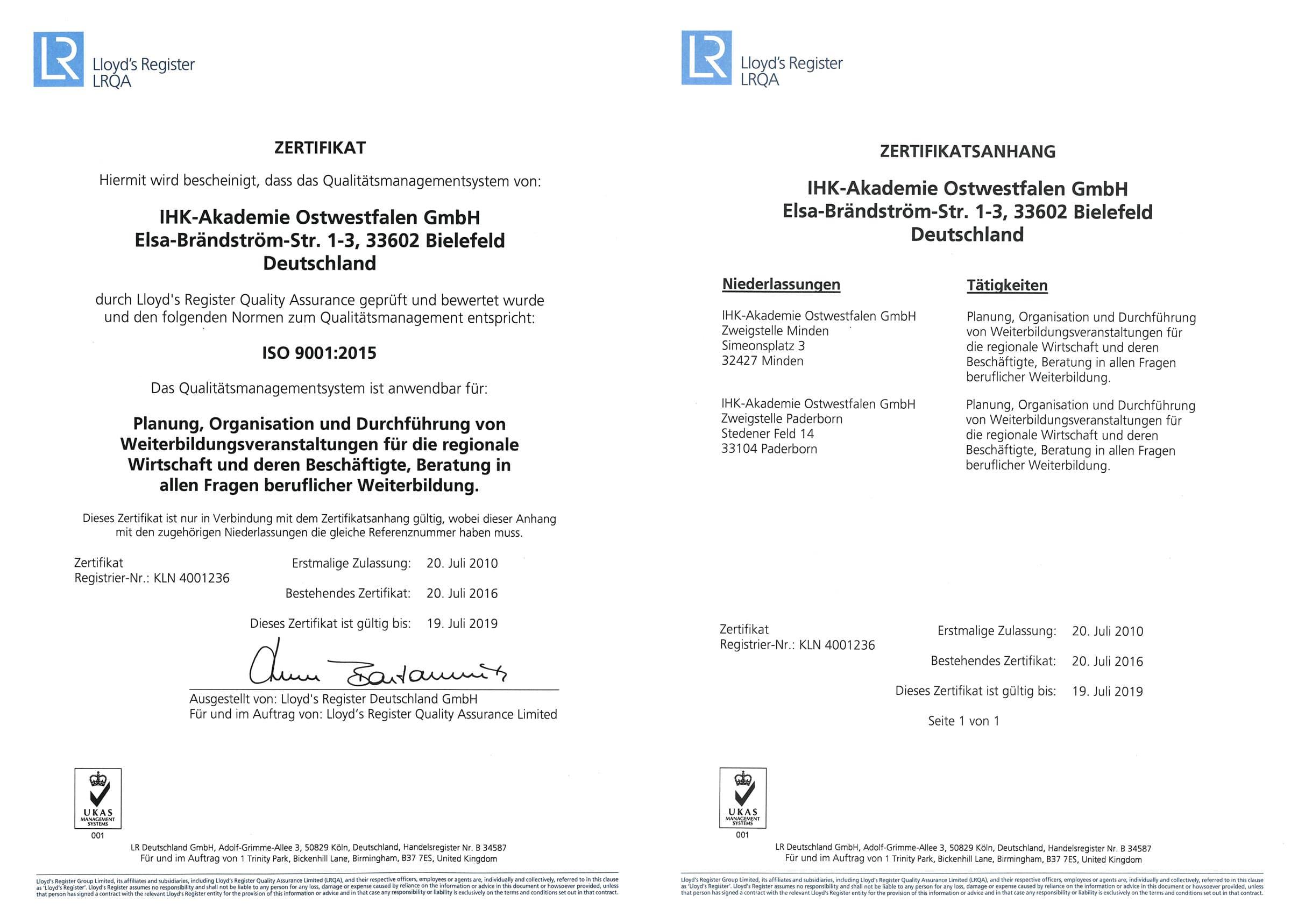 Zertifikat IHK-Akademie Ostwestfalen GmbH